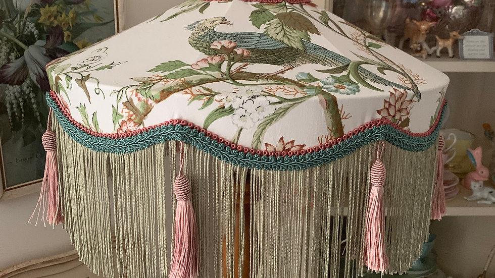 """Large 16"""" vintage deco tiffany style 'Paradise Bird' fringed fabric lampshade"""