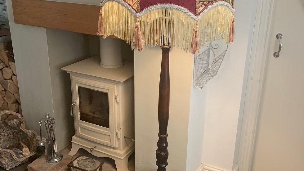 """William Morris 'Pimpernel' aubergine fabric vintage standard lamp 18"""" lampshade"""