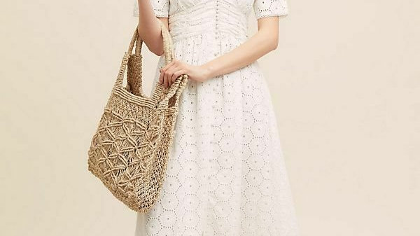 ANTHROPOLOGIE Gaissel white broderie anglais /eyelet lace dress