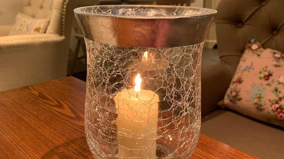 BRISSI 'Edith' crackle glass/silver hurricane lamp candle holder