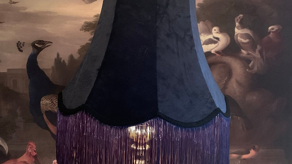 "Vintage style midnight blue velvet large 18"" frilvet large 18"" fringed lampshade"