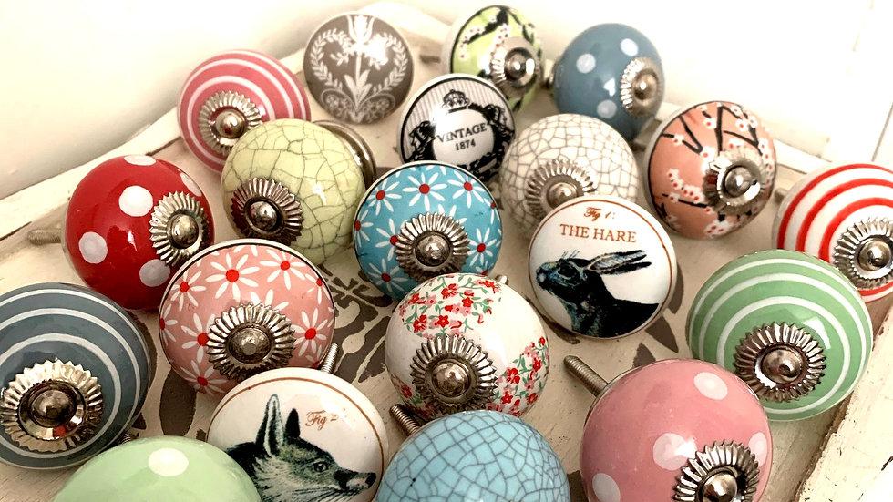 Assorted ceramic furniture knobs