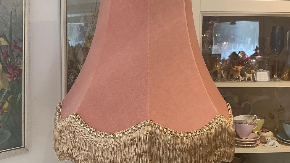 "Vintage style dusky/plaster pink velvet large 18"" fringed lampshade"