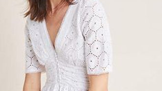 ANTHROPOLOGIE Gaissel white broderie anglais /eyelet lace blouse