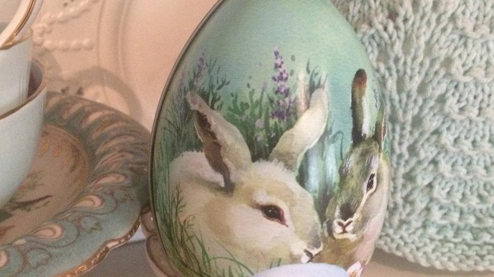 Vintage style RABBIT bunny Easter egg shaped gift tin box
