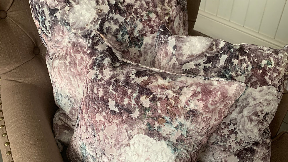 Set of 3 velvet devore lilac/blues/grey floral cushions