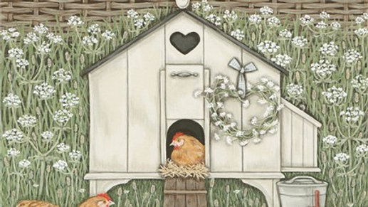 Sally Swannell  'Hen House' chickens greeting card