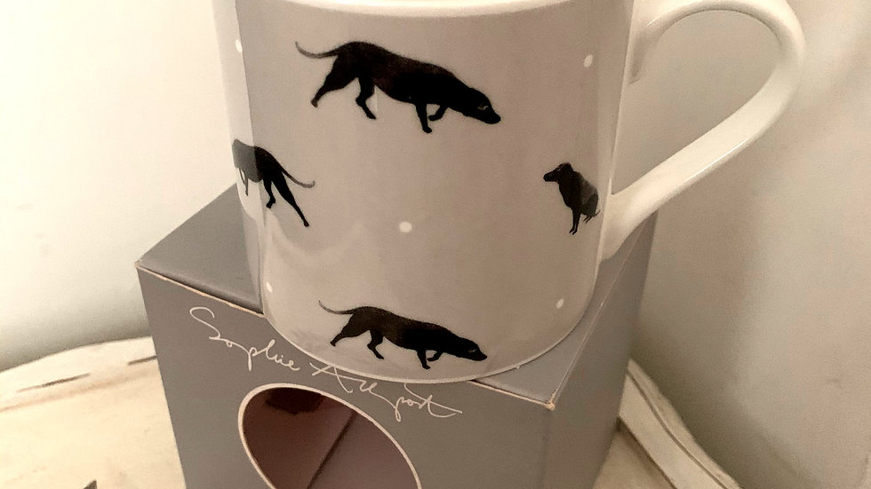 Sophie Allport 'Sit' black labrador large bone china mug