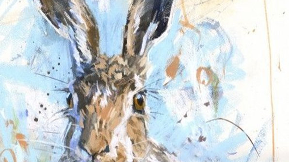 Spring Hare large greeting card