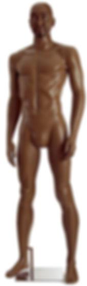 Manequim masculino adulto negro para vitrine de plástico rotomoldagem com cabeça