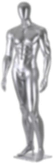 Manequim masculino adulto cromado para vitrine de plástico rotomoldagem com cabeça