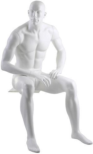 Manequim masculino adulto branco sentado para vitrine de plástico rotomoldagem com cabeça