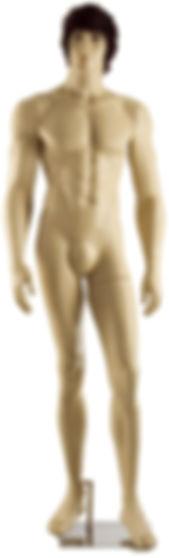 Manequim masculino adulto cor de pele para vitrine de plástico rotomoldagem com cabeça e peruca
