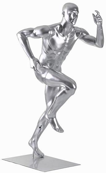 Manequim masculino adulto correndo cromado para vitrine de plástico rotomoldagem com cabeça