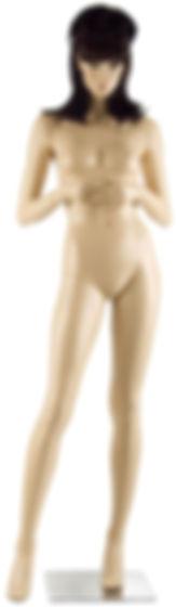 Manequim feminino adulto cor de pele para vitrine de plástico rotomoldagem com cabeça e peruca com base