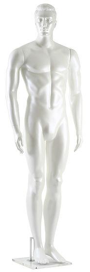 Manequim masculino adulto branco pérola para vitrine de plástico rotomoldagem com cabeça
