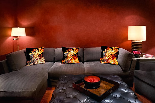 Burning Skull Throw Pillow by Timothy White