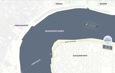 Old Algiers Point map, Mississippi River Map, French Quarter map, proximity map, Bywater, Marginy