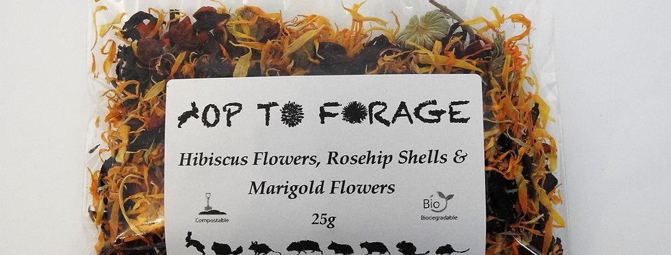 Hibiscus Flowers, Rosehip Shells & Marigold Flowers (25g)