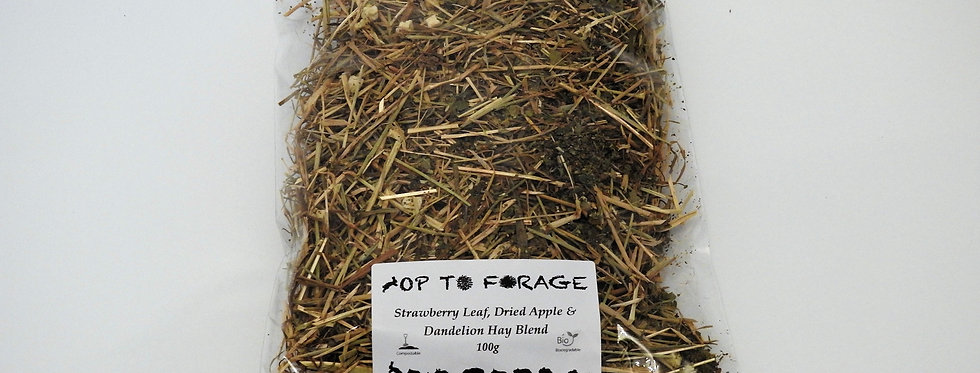 Strawberry Leaf, Dried Apple & Dandelion Hay Blend (100g)