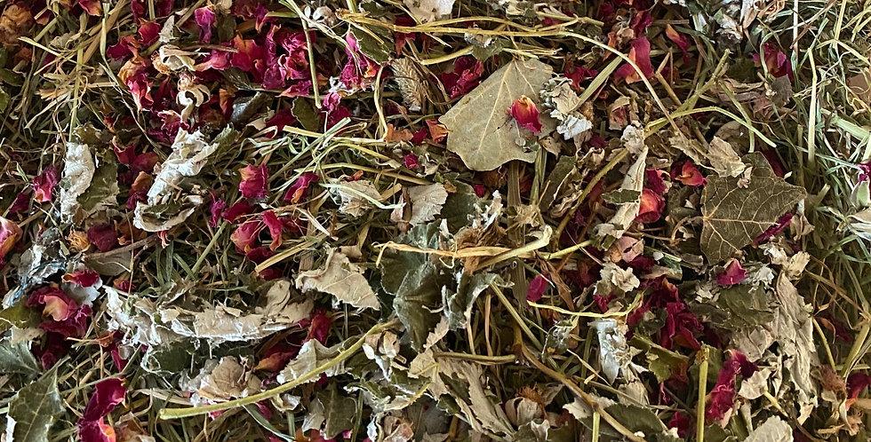 Raspberry Leaf, Rose Petals & Grapevine Leaf Hay Blend (100g)
