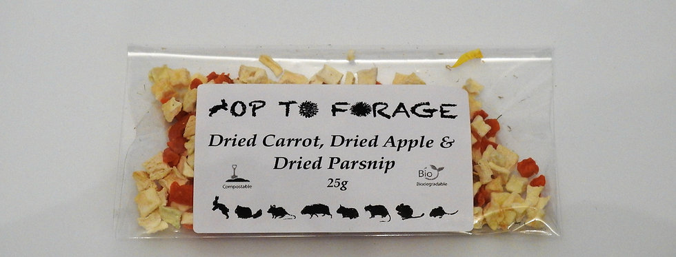 Dried Carrot, Dried Apple & Dried Parsnip (25g)