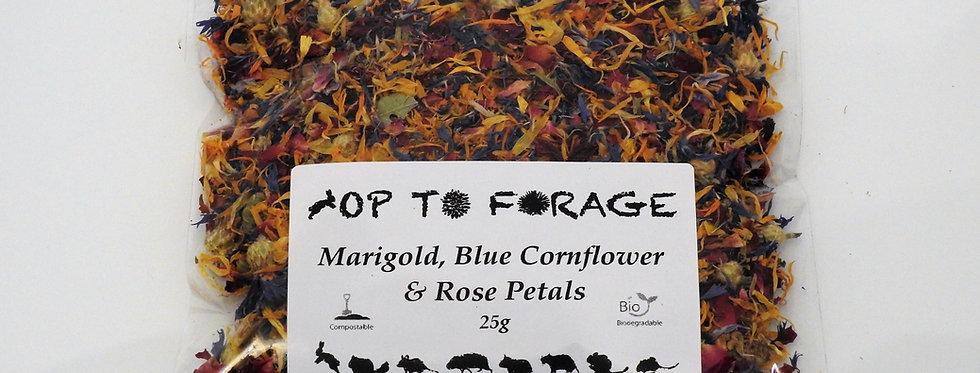 Marigold, Blue Cornflower & Rose Petals (25g)