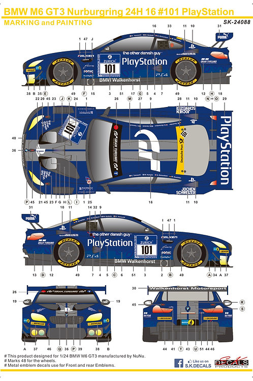1/24 BMW GT3 Nurburgring 24H 16 #101 Playstation