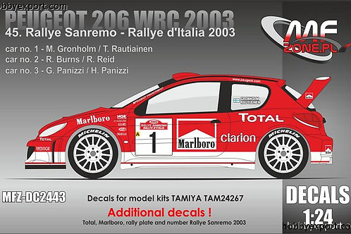 1/24 DECAL PEUGEOT 206 WRC MARLBORO SANREMO 2003
