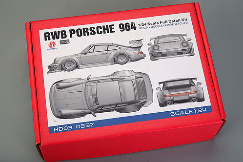 1/24 RWB Porsche 964 Full Detail Kit  (Resin+PE+Decals+Metal Wheels+Metal parts)