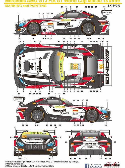 SK Decals Mercedes AMG GT3 FIA GT World Cup Macau2018 #999