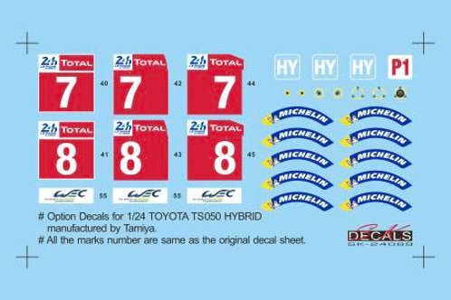 Toyota TS050 Hybrid LeMans 2018 option decals for Tamiya