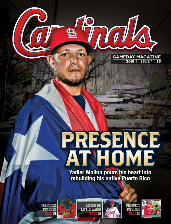 Yadi in the front cover of Cardinals Gameday Magazine