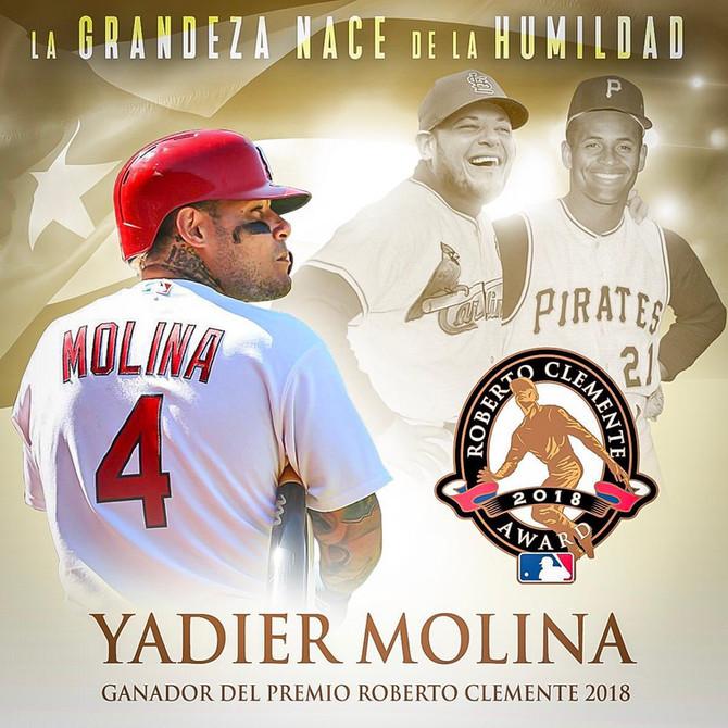 Cardinals catcher Yadier Molina wins Roberto Clemente Award