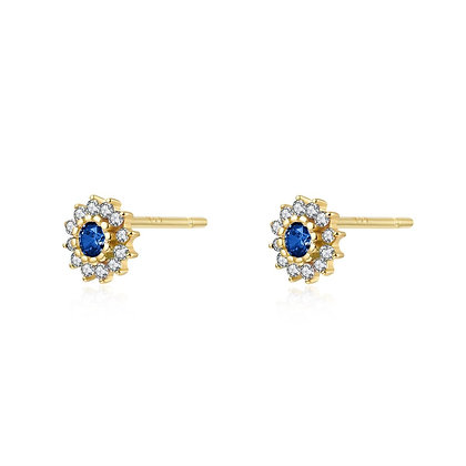 BLUE FLORAL GOLD EARRING