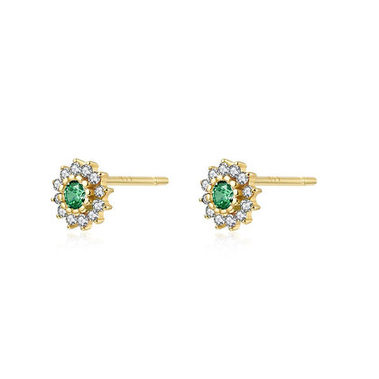 GREEN FLORAL GOLD EARRING