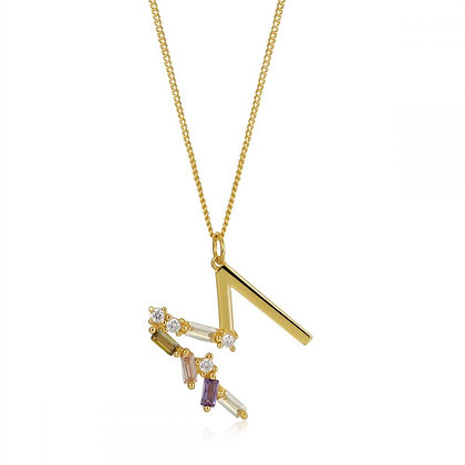 M LETTER GOLD NECKLE