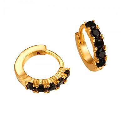 BLACK CAMELIA GOLD EARRINGS