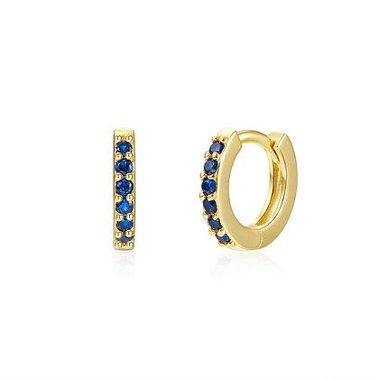 BLUE CAMELIA MINI GOLD EARRINGS
