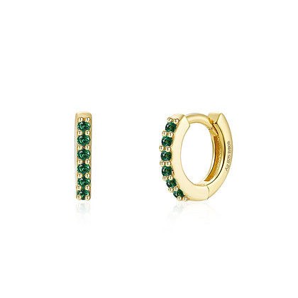 GREEN CAMELIA MINI GOLD EARRINGS