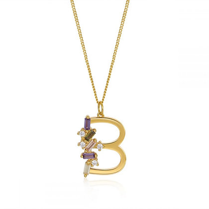B LETTER GOLD NECKLE