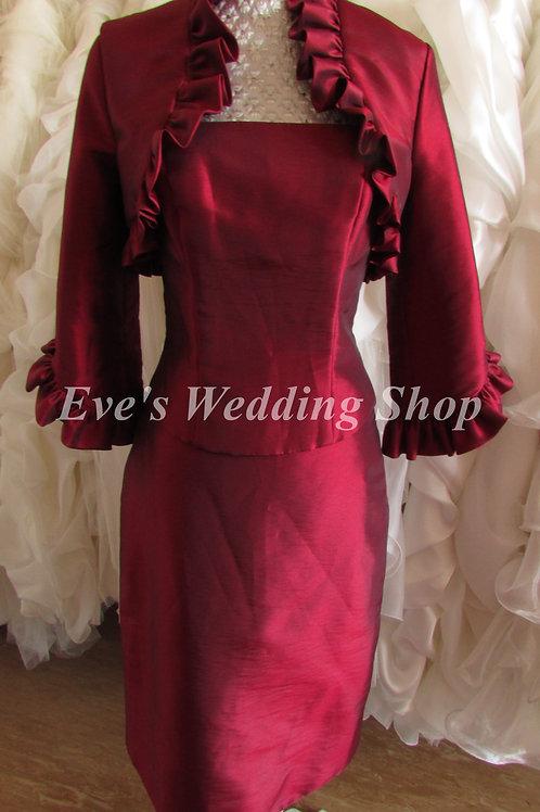 3 pc burgundy Mother of bride/groom dress  EU 36 siZE