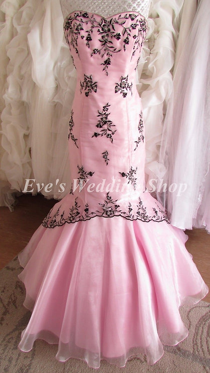 Scarlett designer pink black wedding / prom dress UK 12