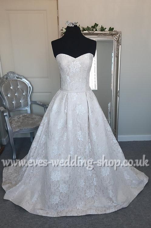 Kenneth Winston champagne ivory lace wedding dress UK 10 - with pockets