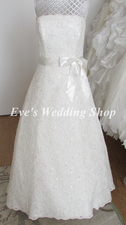 Rosetta Nicollini 'Naomi' ivory lace wedding dress UK 16/18 PETITE