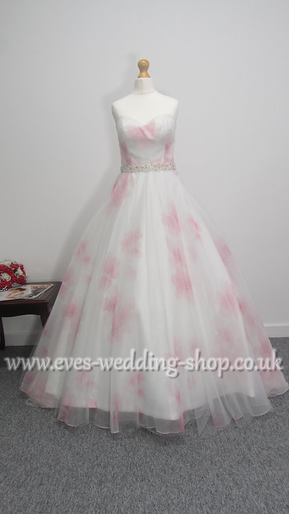 Veromia floral ivory / pink wedding dress UK size 12