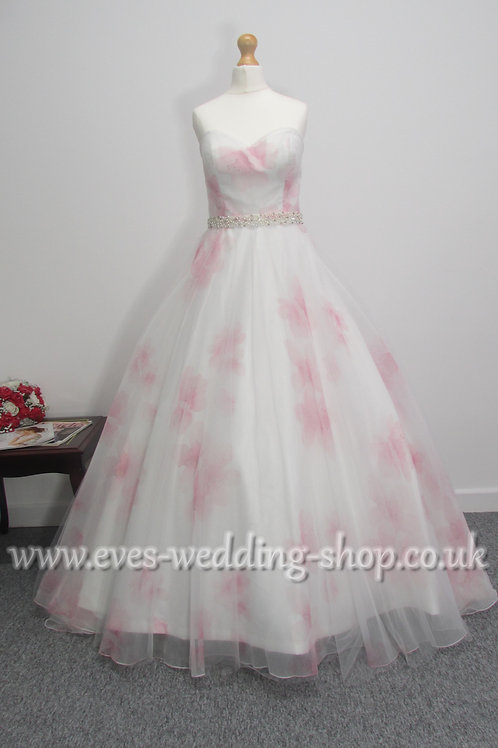 Veromia floral ivory / pink wedding dress UK size 12
