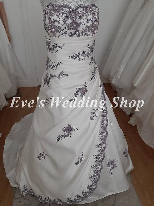 Petite - Julian & Adam ivory / mulberry wedding dress UK size 12/14