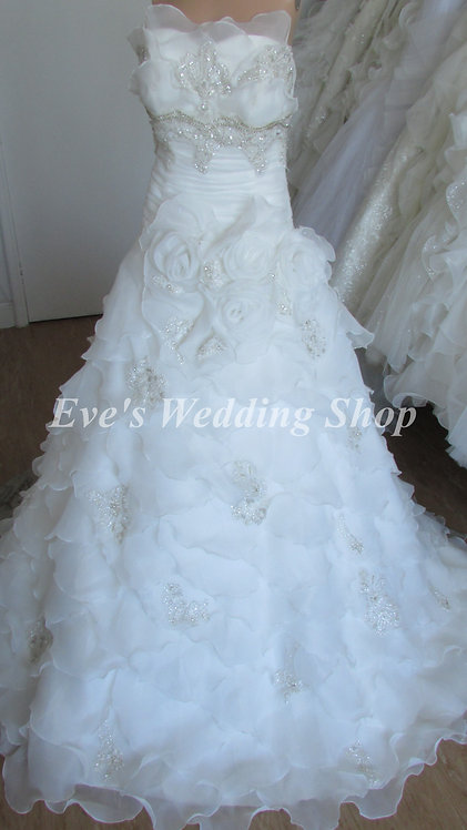 ruffled wedding dress uk size 8/10