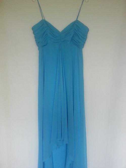 Dessy 2883 Turquoise dip hem evening / bridesmaid dress Uk 16